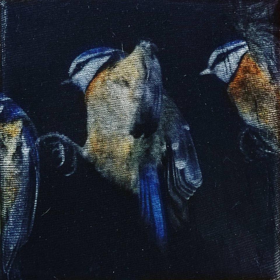 """""""vola!"""", acryl, gewebe auf leinwand, 10 x 10 x 4 cm"""