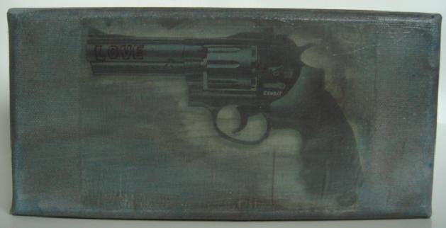 """bitch r-77"" - acryl/mischtechnik auf leinwand - 10 x 20 cm"