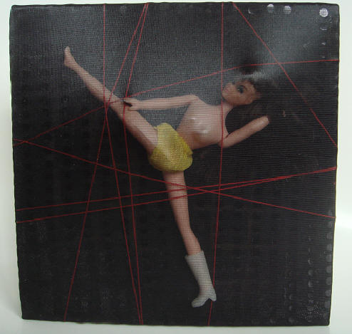 """butterfly caught"" - acryl/plastik auf leinwand - 20 x 20 cm"