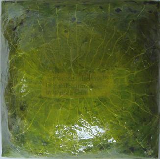 """drei wochen"" (flat jack) - acryl/mischtechnik auf leinwand - 20 x 20 x 15 cm"