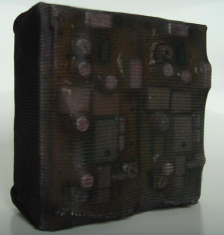 """dual"" - acryl/metall auf leinwand - 10 x 10 x 5 cm"