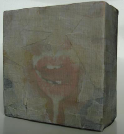 """""""milch / honig"""" - acryl/mischtechnik auf leinwand - 10 x 10 x 4 cm"""