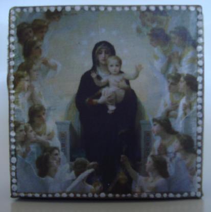 """o. t. (madonna)"" - acryl/mischtechnik auf leinwand - 10 x 10 x 4 cm"