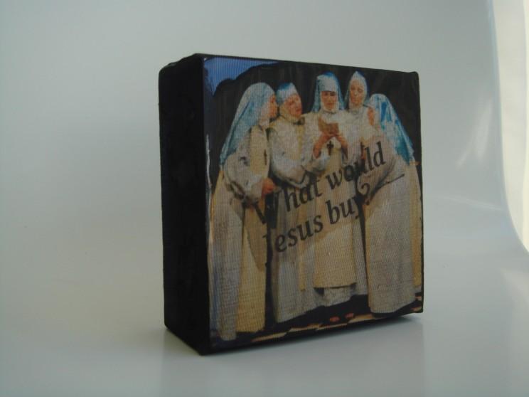 """""""o. t. (what would jesus buy)"""" - acryl/mischtechnik auf leinwand - 10 x 10 x 4 cm"""