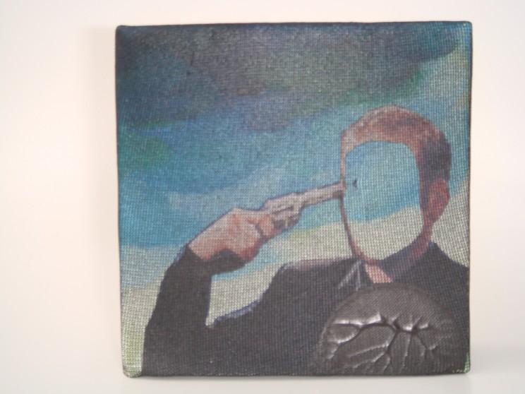 """hole to feed"" - acryl/mischtechnik auf leinwand - 10 x 10 x 4 cm"