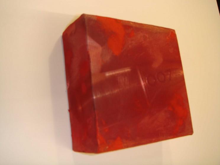 """007"" - acryl/mischtechnik auf leinwand - 10 x 10 x 4 cm"