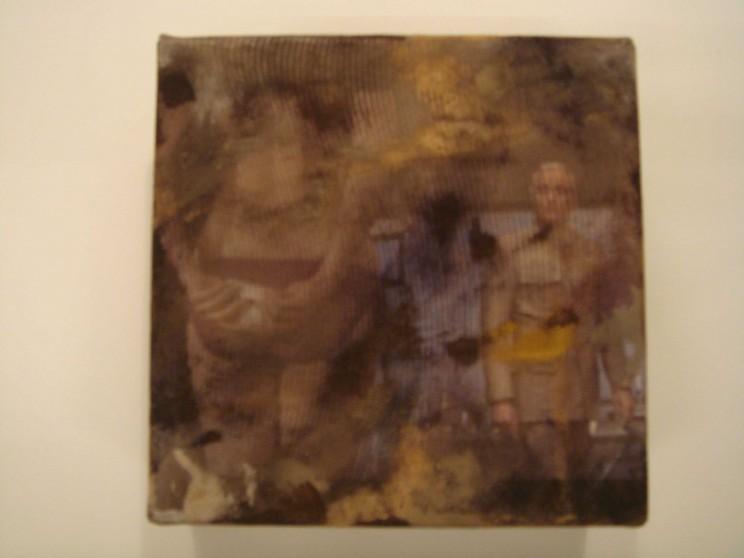 """bedlam"" - acryl/mischtechnik auf leinwand - 10 x 10 x 4 cm"