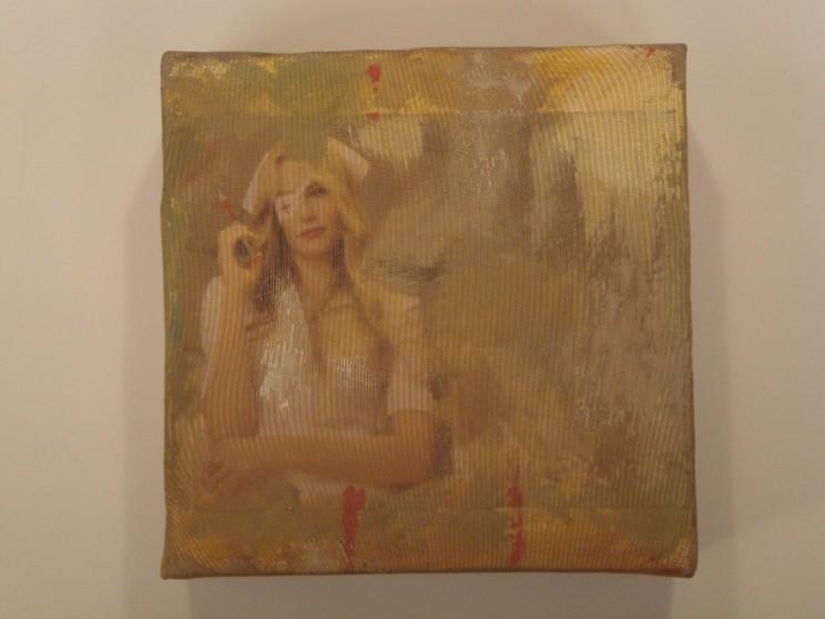 """california mountain snake"" - acryl/mischtechnik auf leinwand - 10 x 10 x 4 cm"