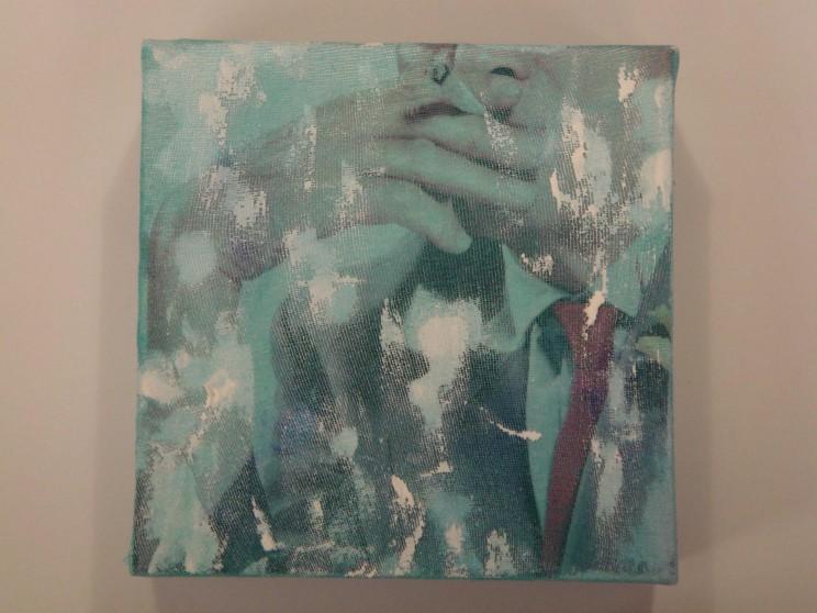 """david hockney"" - acryl/mischtechnik auf leinwand - 10 x 10 x 4 cm"