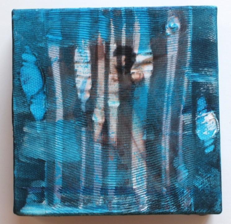 """final destination"" - acryl/mischtechnik auf leinwand - 10 x 10 x 4 cm"