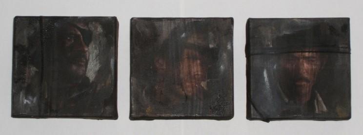 """""""il buono, il brutto, il cattivo"""" - acryl/mischtechnik auf leinwand - 3teilig, je 10 x 10 x 4 cm"""
