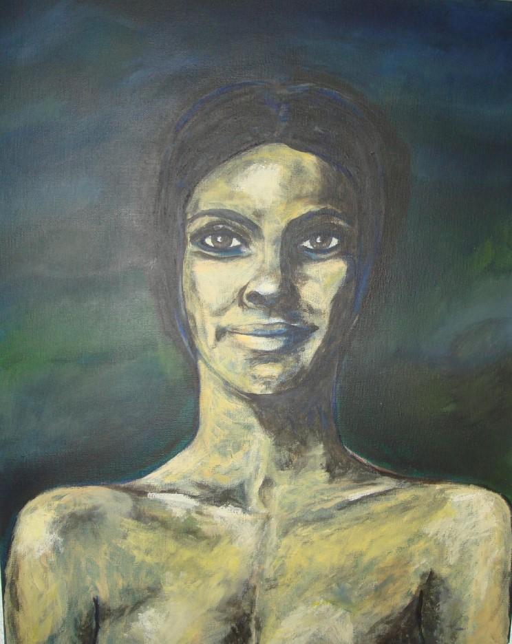 """""""o. t."""" (frau) - acryl auf leinwand - 40 x 50 cm"""