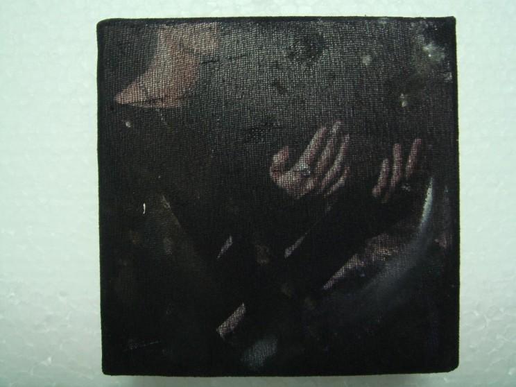 """o. t."" (gabe) - acryl/mischtechnik auf leinwand - 10 x 10 x 4 cm"
