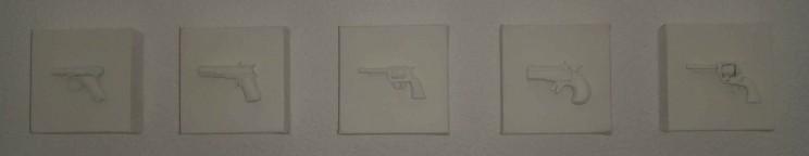 """""""o. t."""" (trust me i'm white) - acryl/mischtechnik auf leinwand, 5teilig, je 10 x 10 x 5 cm"""