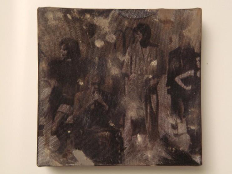 """good scott"" (rhps II) - acryl/mischtechnik auf leinwand - 10 x 10 x 4 cm"