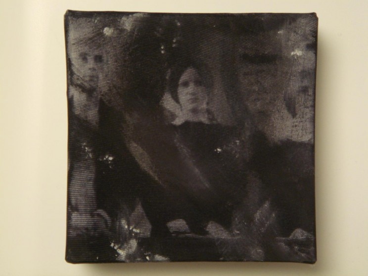 """o. t."" (rhps) - acryl/mischtechnik auf leinwand - 10 x 10 x 4 cm"