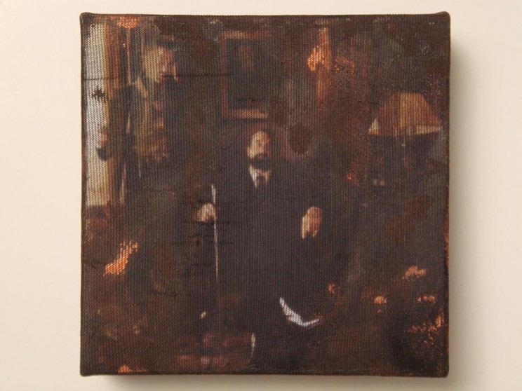 """o. t."" (angel heart) - acryl/mischtechnik auf leinwand - 10 x 10 x 4 cm"