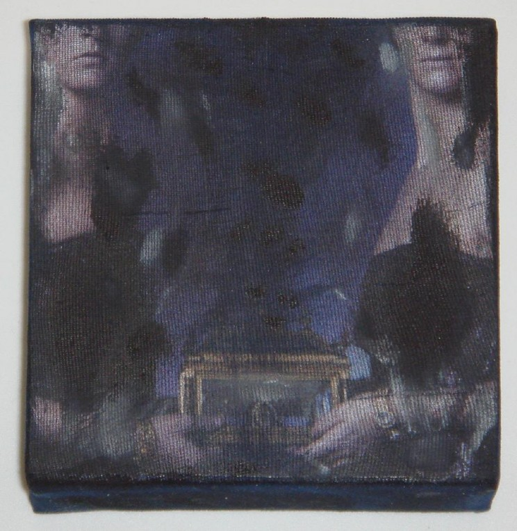 """pandora"" - acryl/mischtechnik auf leinwand - 10 x 10 x 4 cm"