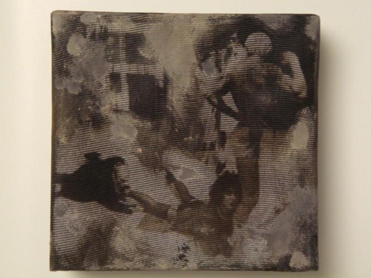"""""""oh rocky"""" - acryl/mischtechnik auf leinwand - 10 x 10 x 4 cm"""