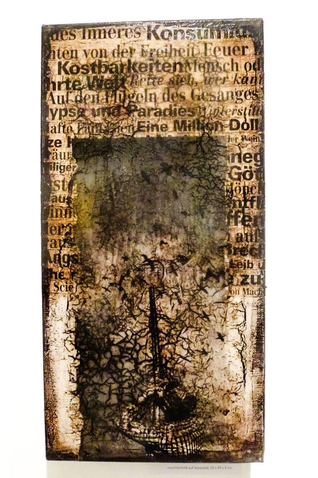 """""""zu spät erwacht"""", acryl, papier, kunstharz auf leinwand, 40 x 20 x 4 cm"""