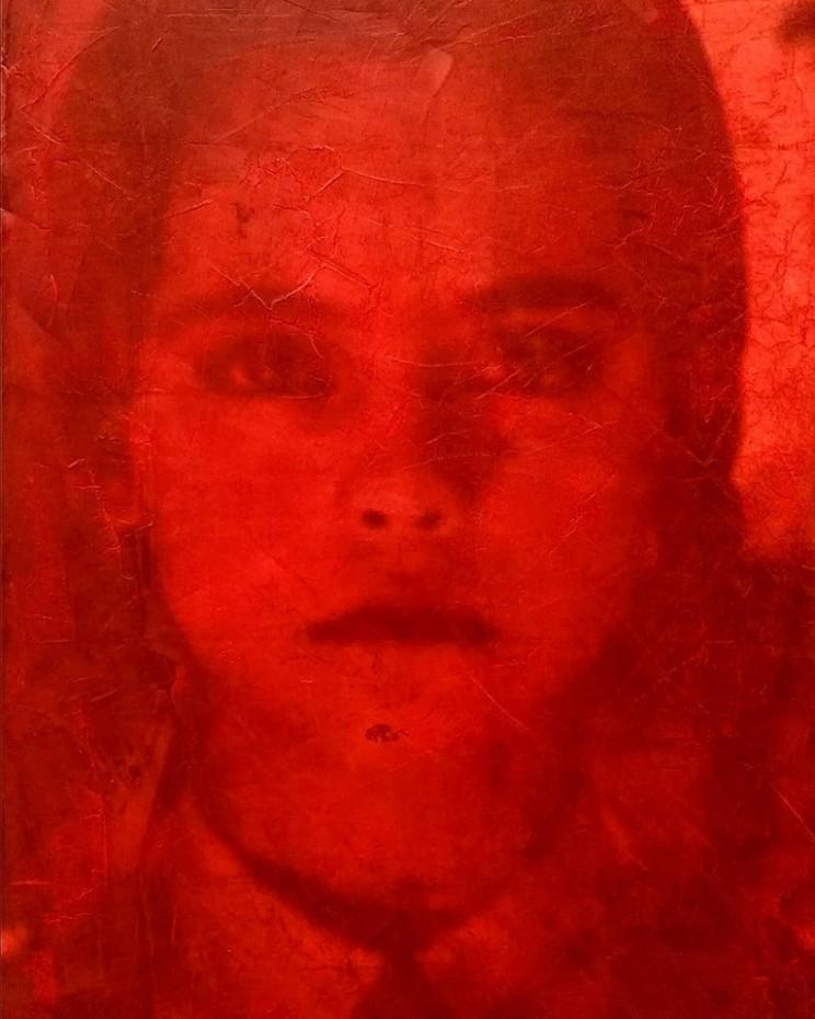"""""""bitch please"""", acryl, papier, kunstharz auf leinwand, 100 x 70 cm"""