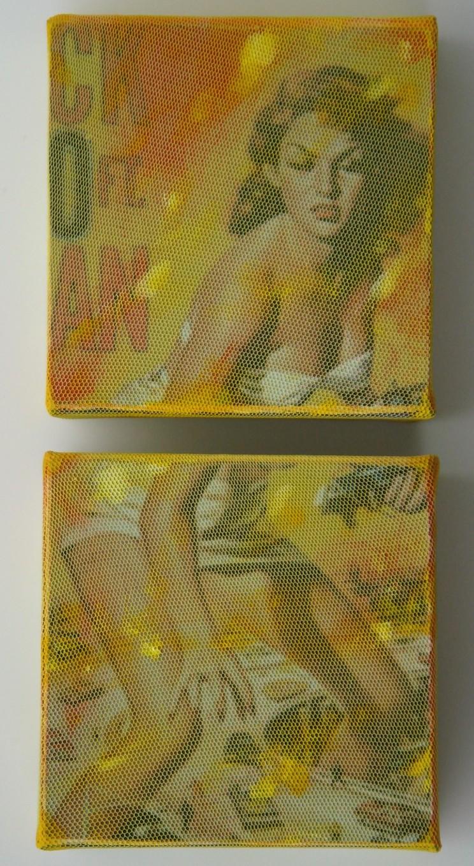 """50 feet woman"" - mischtechnik auf leinwand, 2-teilig - je 15 x 15 x 4 cm"