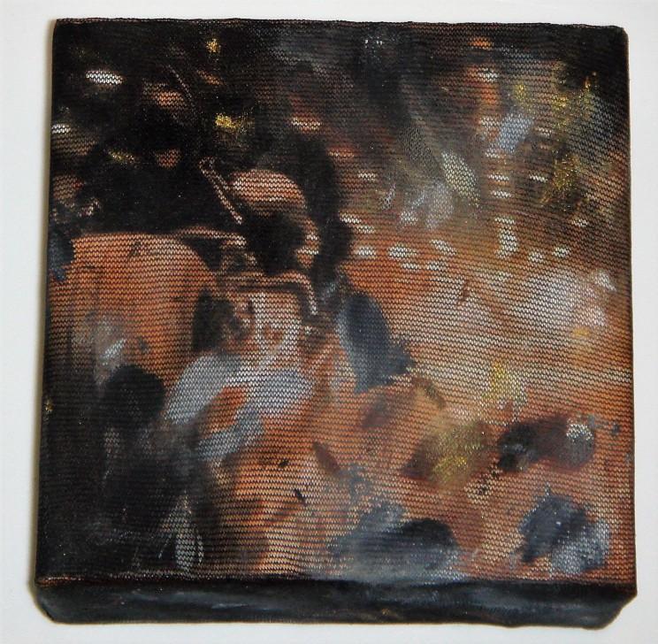 """""""dark knight"""" - mischtechnik auf leinwand - 10 x 10 x 4 cm"""