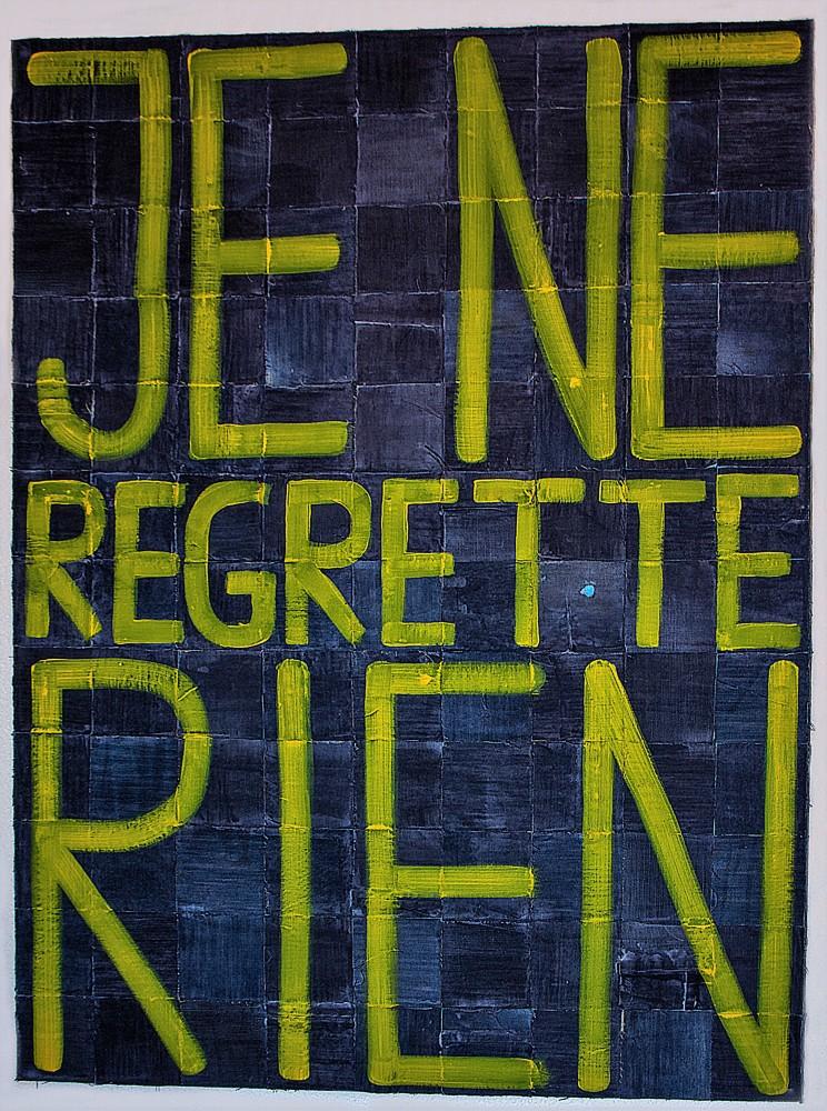 """""""je ne"""" - gewebe, acryl auf leinwand - 120 x 100 cm"""