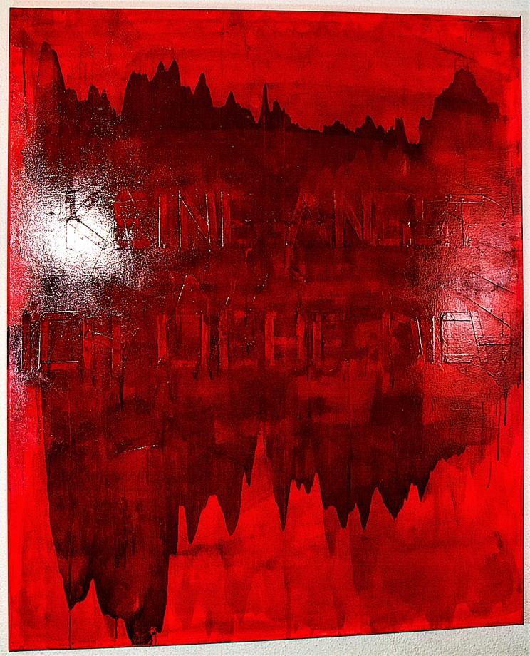 """""""keine angst"""" - acryl, lack auf leinwand - 120 x 100 cm"""