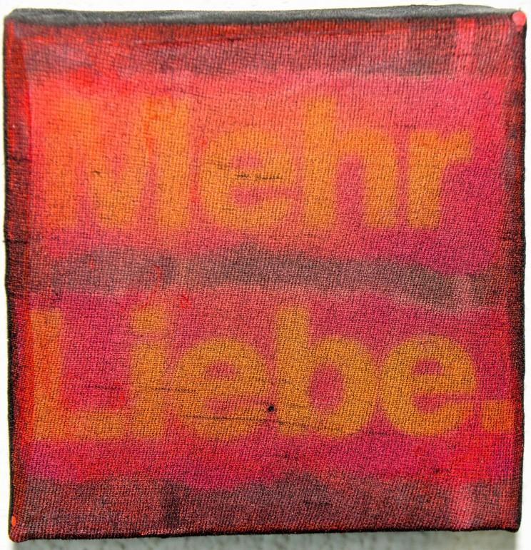 """""""mehr liebe"""" - acryl, papier, gewebe auf leinwand -10 x 10 x 4 cm"""