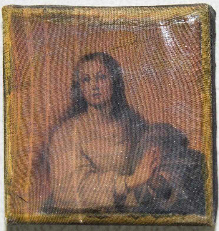 """o.t. (maria)"" - acryl, papier, gewebe auf leinwand -10 x 10 x 4 cm"