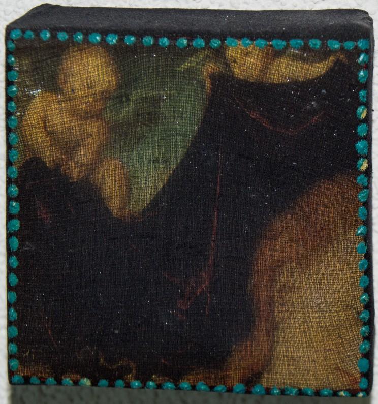 """o.t. (maria/engel)"" - acryl, papier auf leinwand - 10 x 10 x 4 cm"