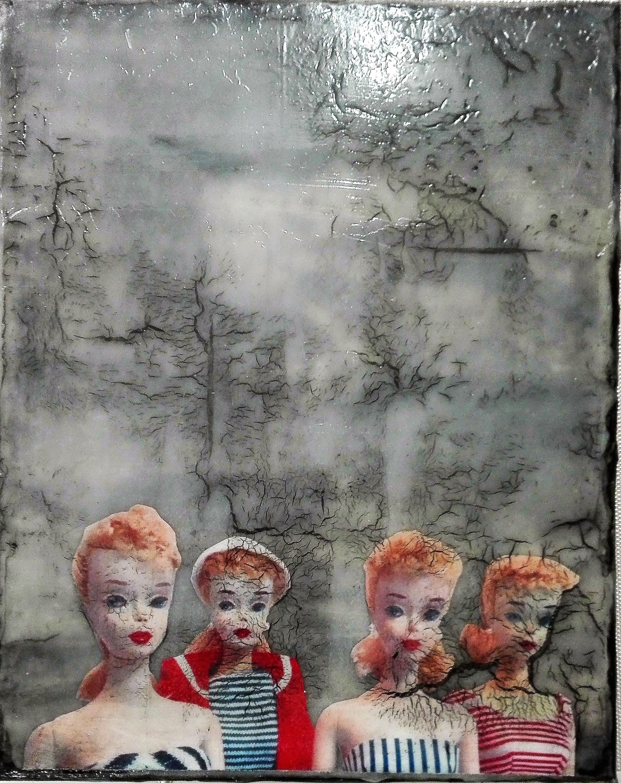 """we're all mad here"" - acryl, papier, kunstharz auf leinwand - 30 x 24 cm"