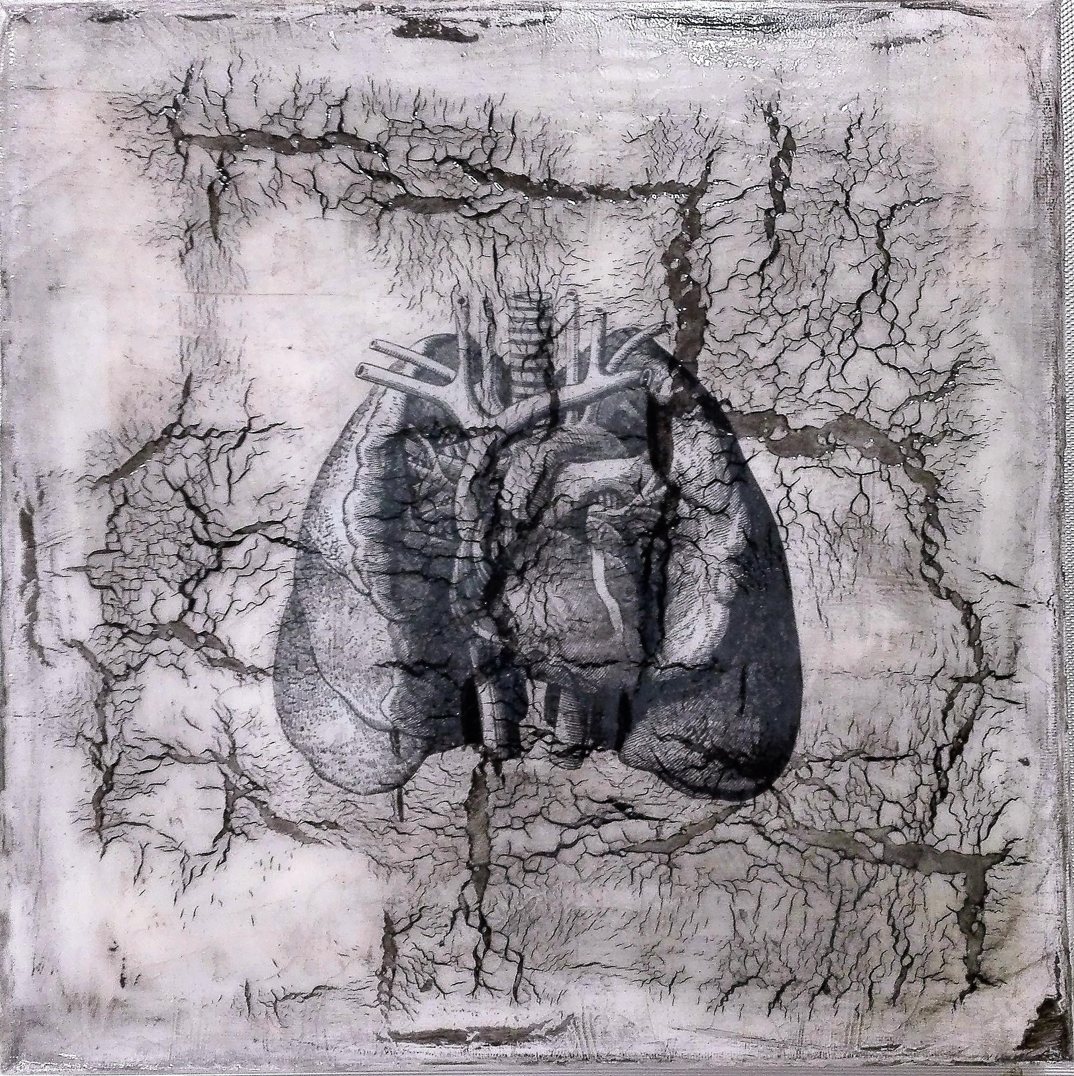 """""""breathe / exhale"""" - acryl, papier, kunstharz auf leinwand - 30 x 30 x 4 cm"""