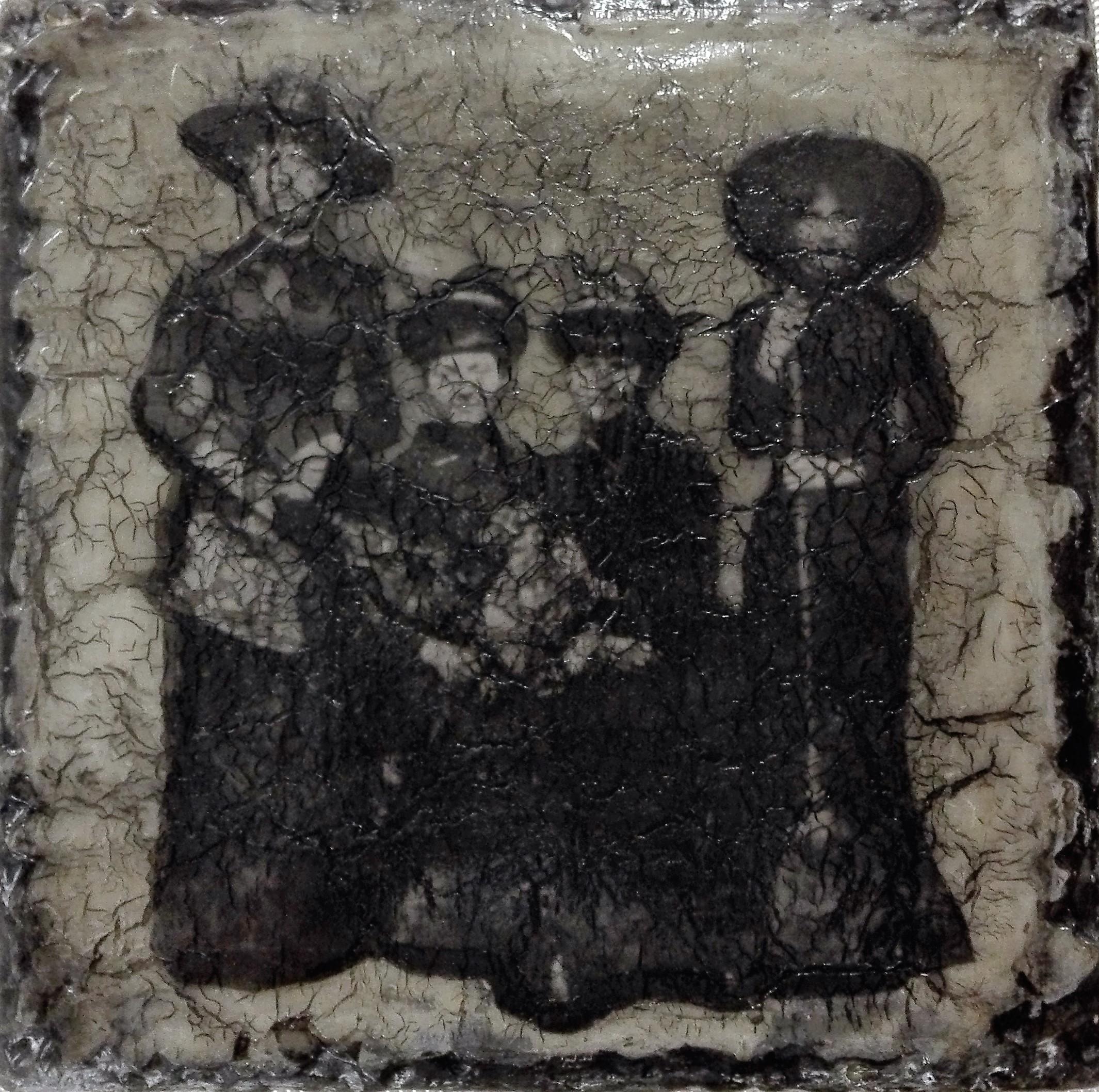 """""""scream if you can"""" - acryl, papier, kunstharz auf leinwand - 20 x 20 x 4 cm"""