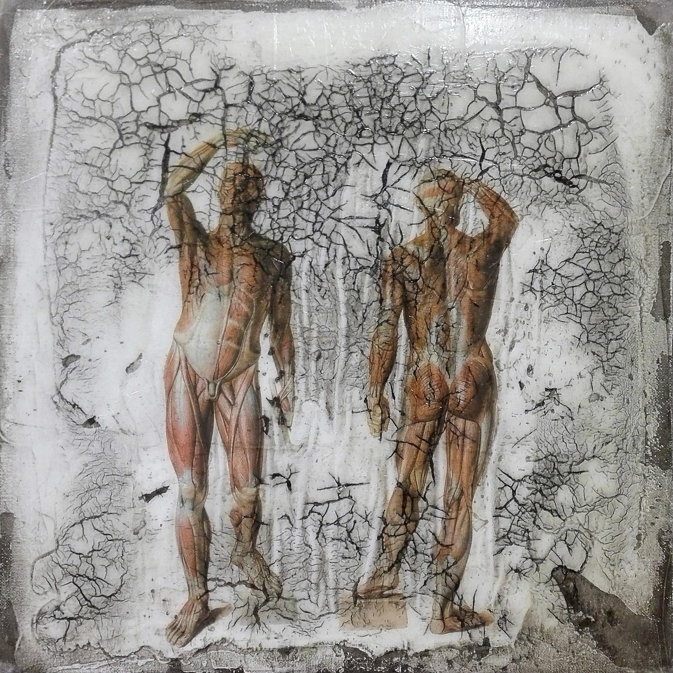 """""""muskuli"""" - acryl, papier, kunstharz auf leinwand - 30 x 30 cm"""