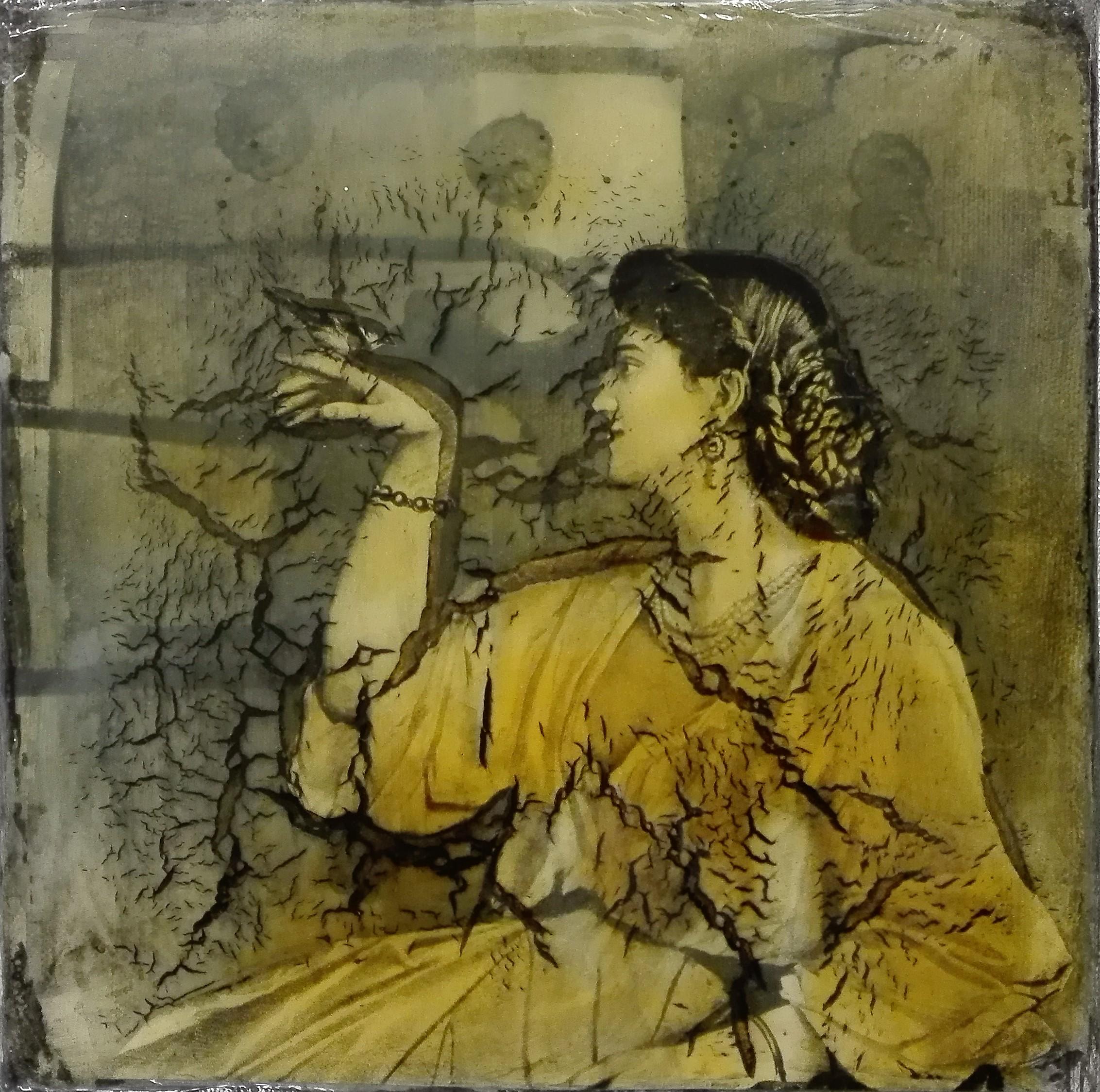 """""""you were never mine"""" - acryl, papier, kunstharz auf leinwand - 20 x 20 x 4 cm"""