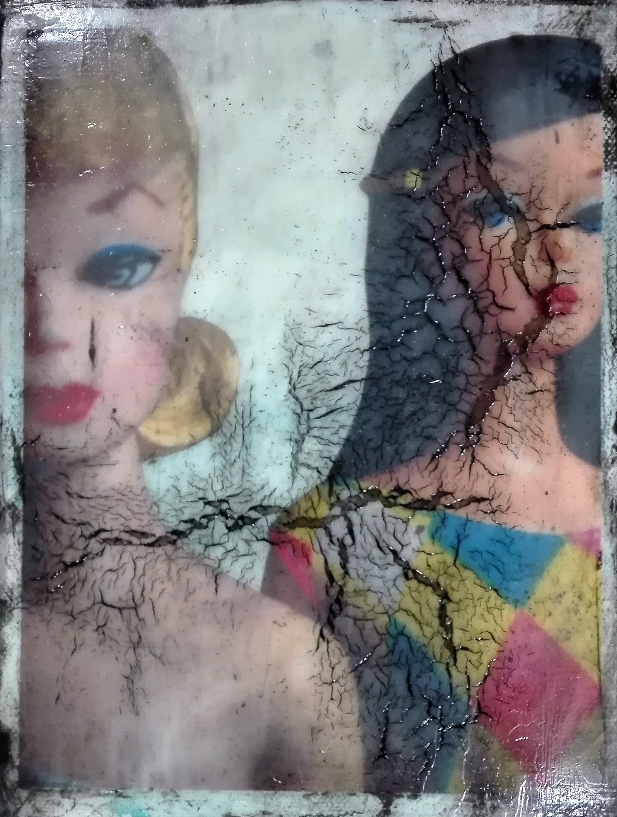 """""""two trapped idiots"""" - acryl, papier, kunstharz auf leinwand . 24 x 18 cm"""