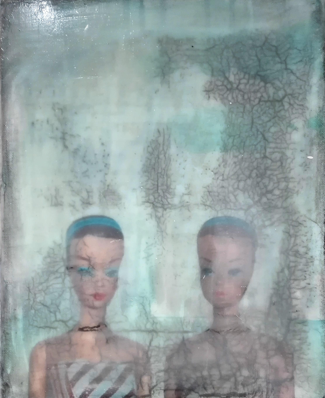 """""""atomic dolls"""" - acryl, papier, kunstharz auf leinwand - 30 x 24 cm"""