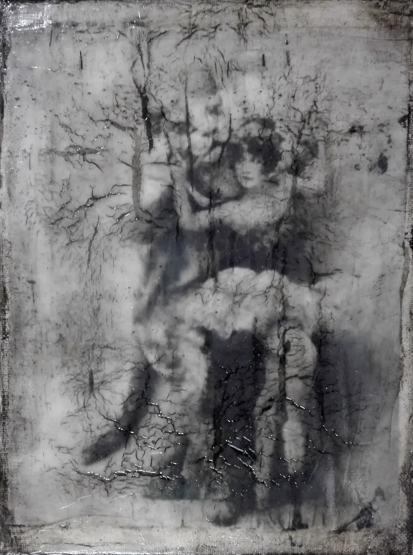 """""""the tigers have found me"""" - acryl, papier, kunstharz auf leinwand - 24 x 18 cm"""