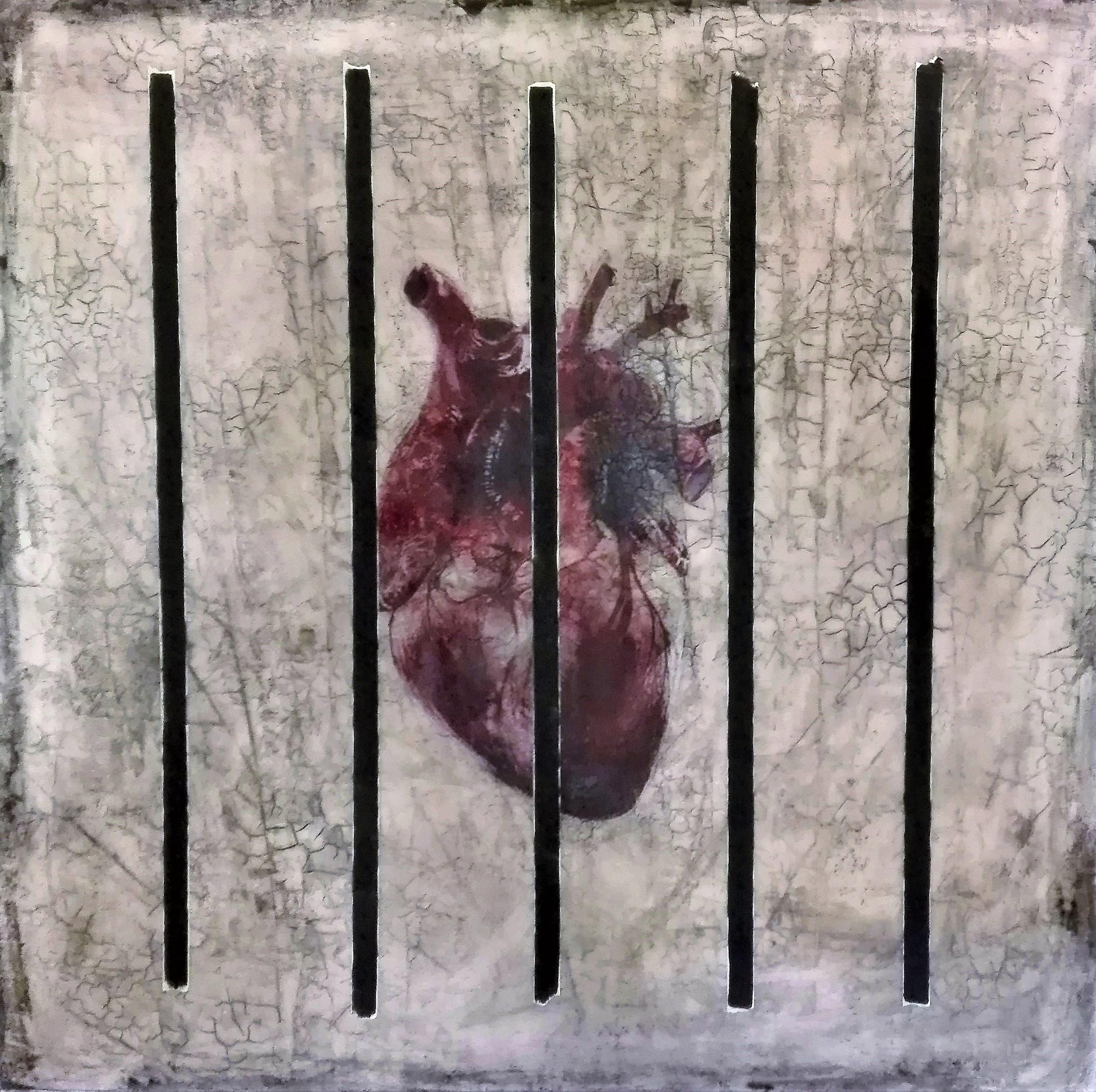"""""""i am (bird in a cage)"""" - acryl, papier, kunstharz auf leinwand - 100 x 100 cm"""