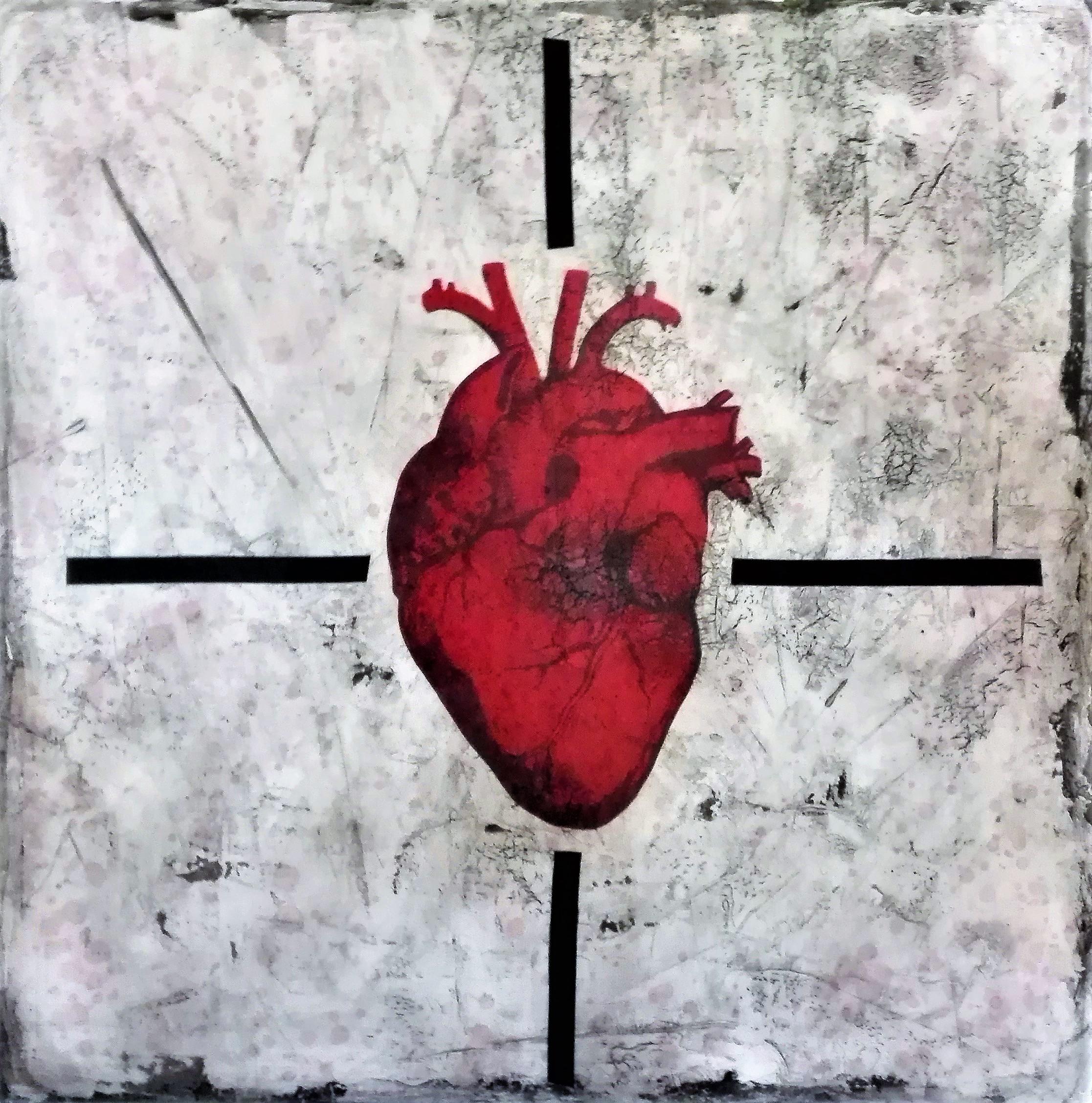 """""""fountain of blood"""" - acryl, papier, kunstharz auf leinwand - 100 x 100 cm"""