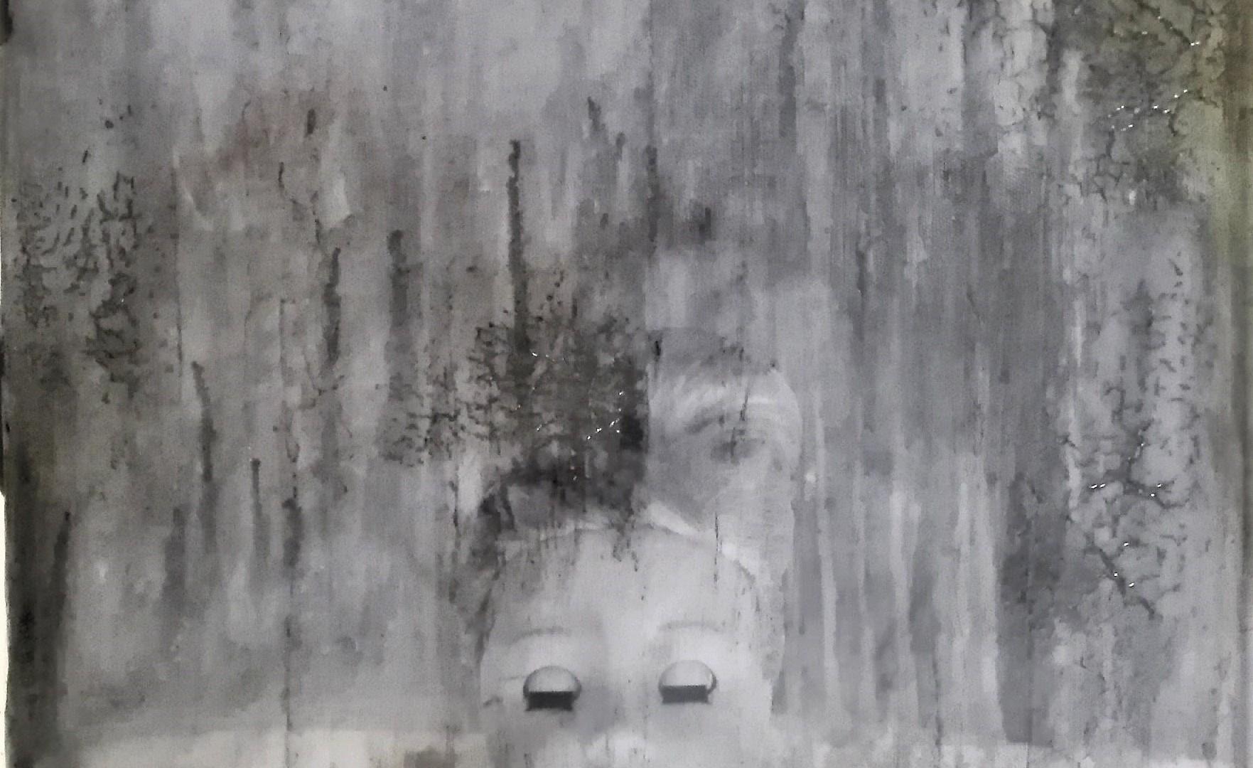 """portrait of a long lost love 1"" - acryl, papier, kunstharz auf leinwand - 40 x 40 x 8 cm"