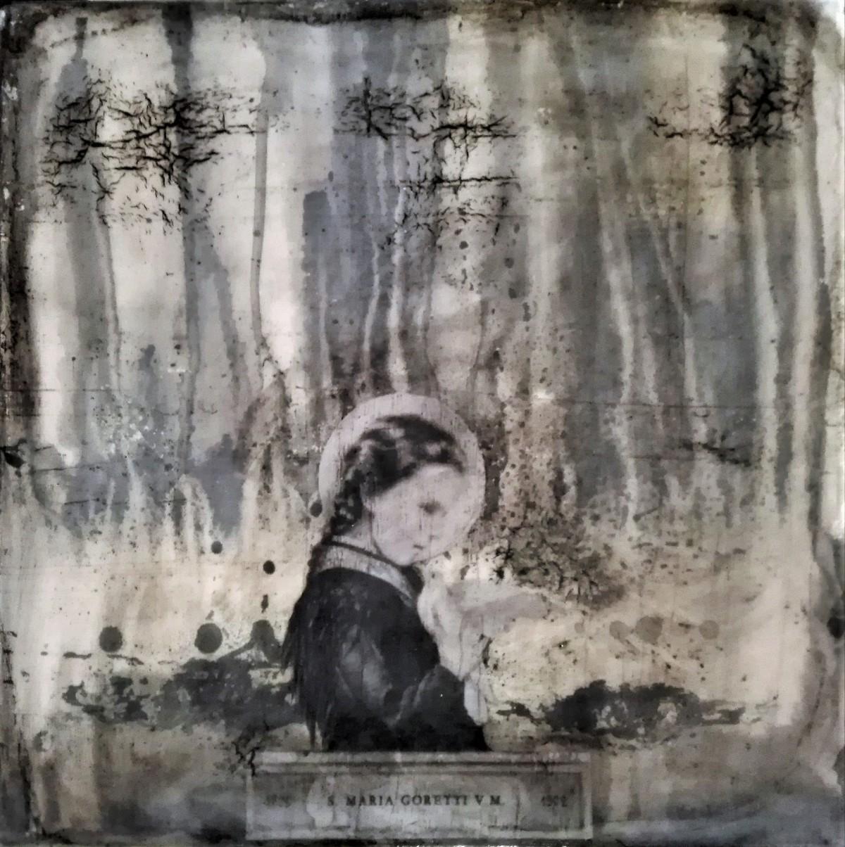 """heaven heaven give me pride"" - acryl, papier, kunstharz auf leinwand - 40 x 40 cm"