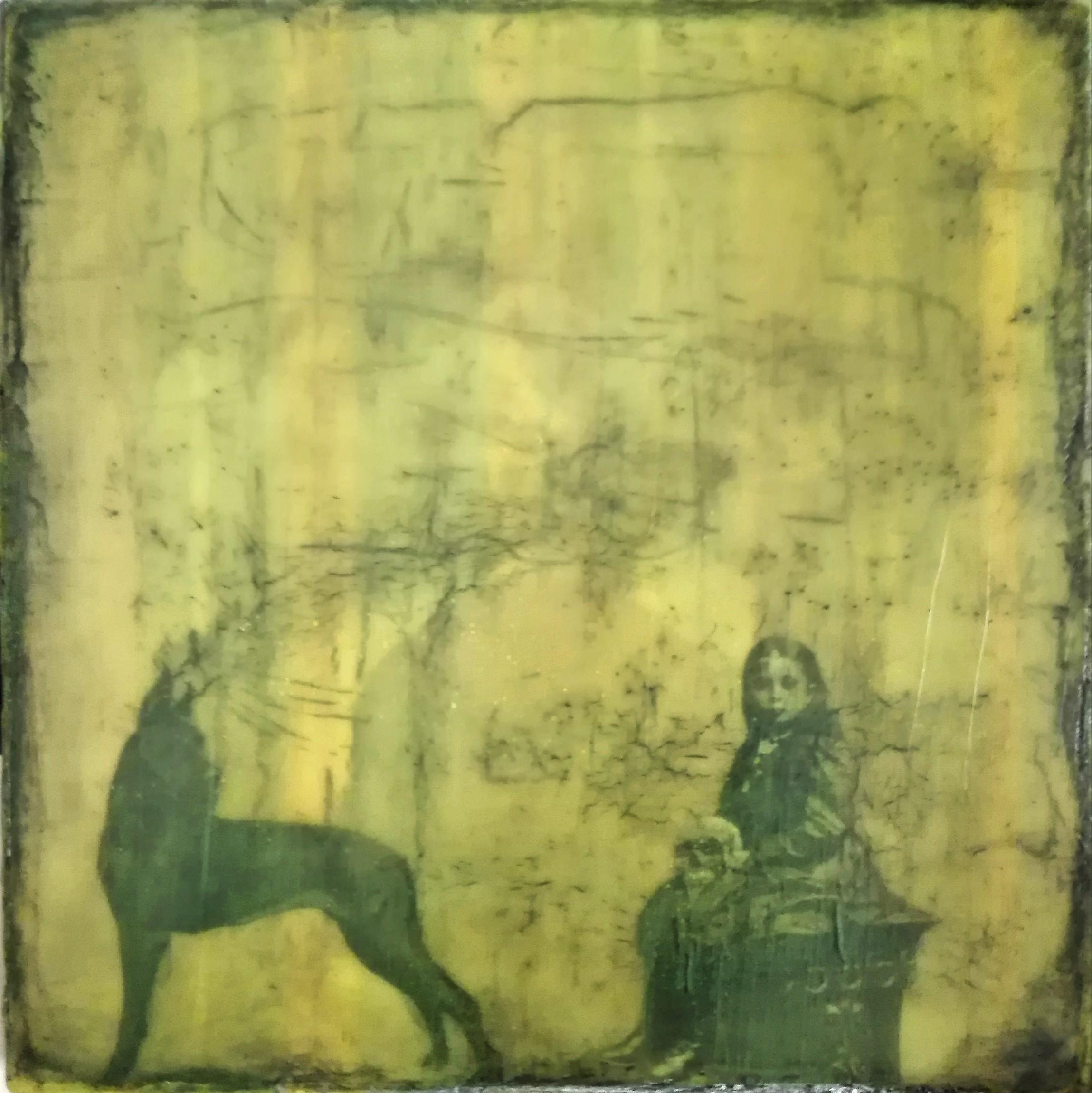 """""""don't need to believe"""" - acryl, papier, gewebe, kunstharz auf leinwand - 40 x 40 cm"""