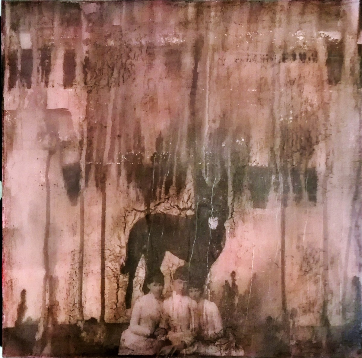 """""""before they do"""" - acryl, papier, kunstharz auf leinwand - 40 x 40 cm"""