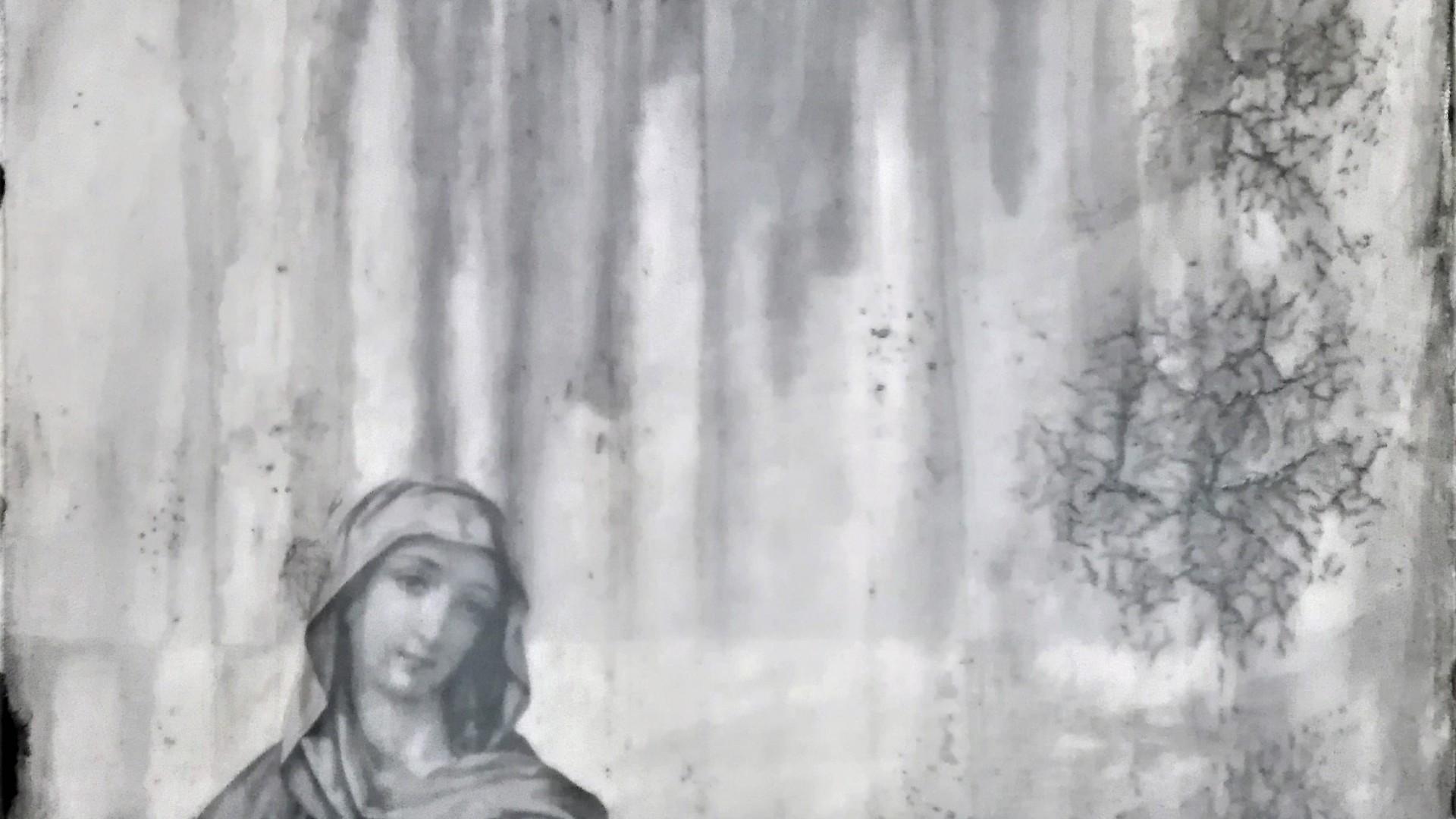 """fiction and an open heart"" - acryl, papier, kunstharz auf leinwand - 40 x 40 x 8 cm"
