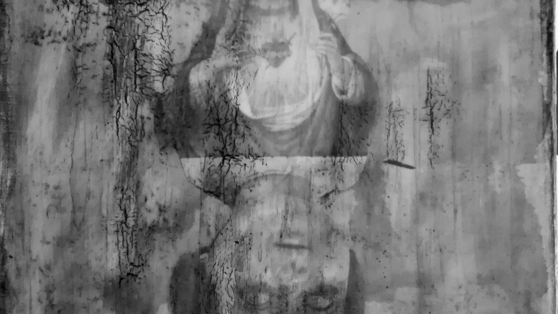 """""""save us all"""" - acryl, papier, kunstharz auf leinwand - 40 x 40 cm"""