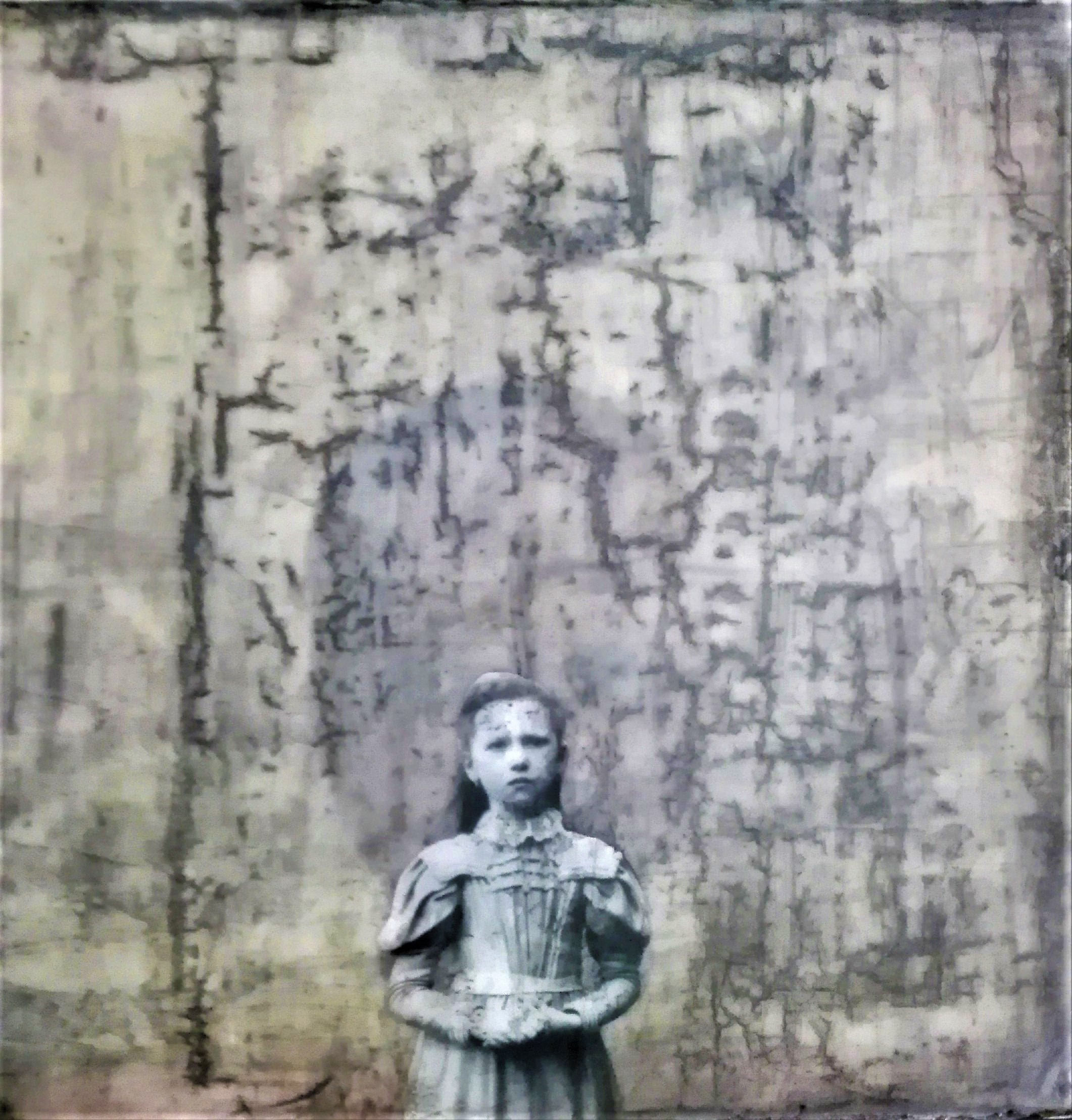 """""""innocence lost"""" - acryl, papier, kunstharz auf leinwand - 40 x 40 cm"""
