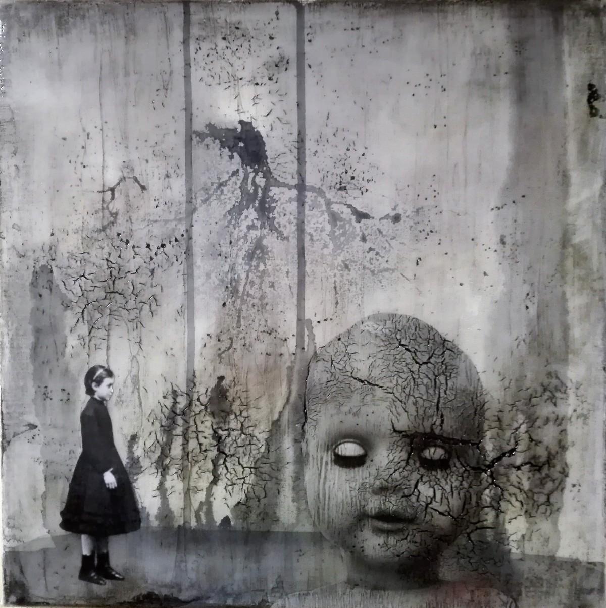 """portrait of a long lost love 4"" - acryl, papier, kunstharz auf leinwand - 40 x 40 cm"